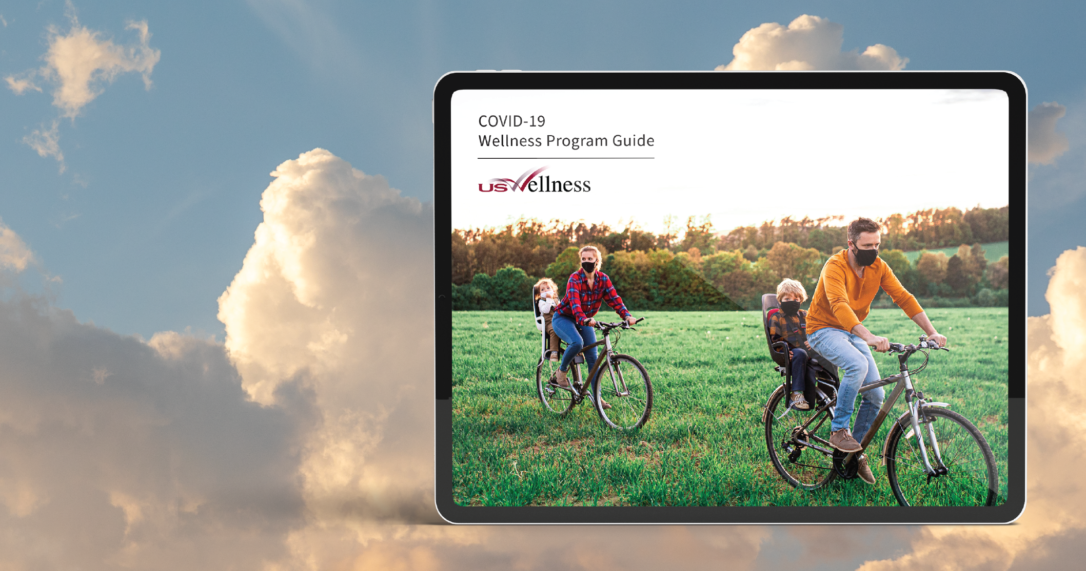 tablet displays COVID-19 wellness program guide